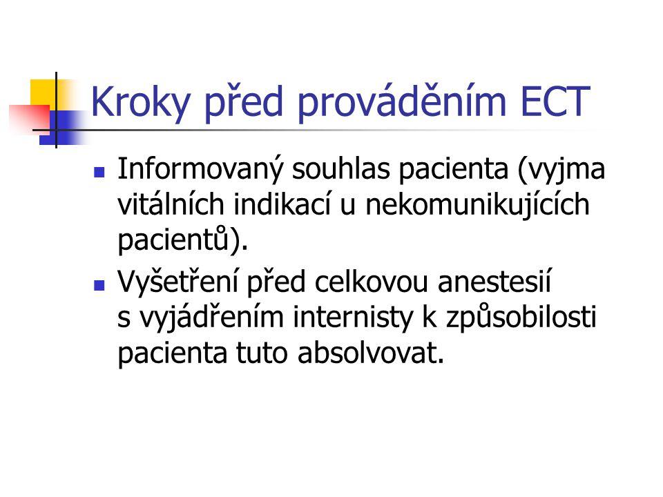 Kroky před prováděním ECT Informovaný souhlas pacienta (vyjma vitálních indikací u nekomunikujících pacientů).