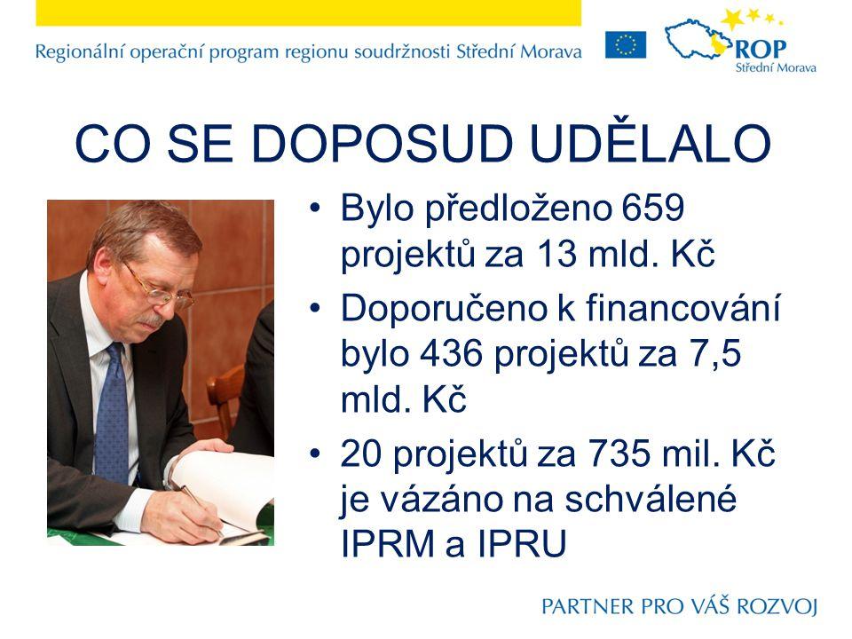 CO SE DOPOSUD UDĚLALO Bylo předloženo 659 projektů za 13 mld.
