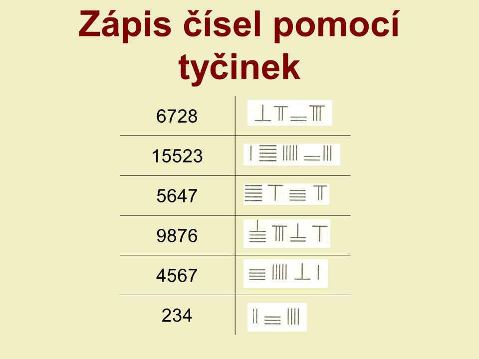Zápis čísel pomocí tyčinek 6728 15523 5647 9876 4567 234