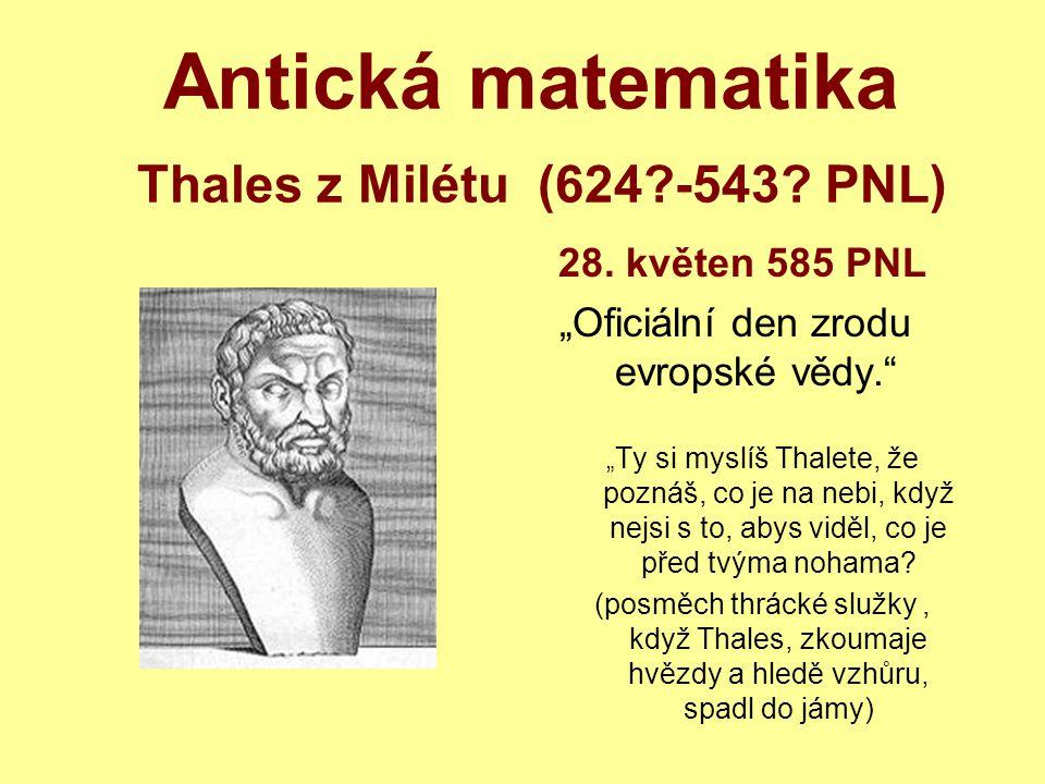 Antická matematika Thales z Milétu (624?-543.PNL) 28.