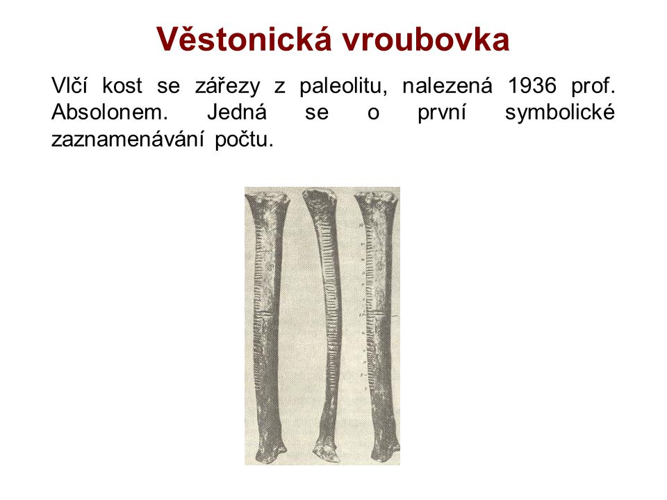 Věstonická vroubovka Vlčí kost se zářezy z paleolitu, nalezená 1936 prof.