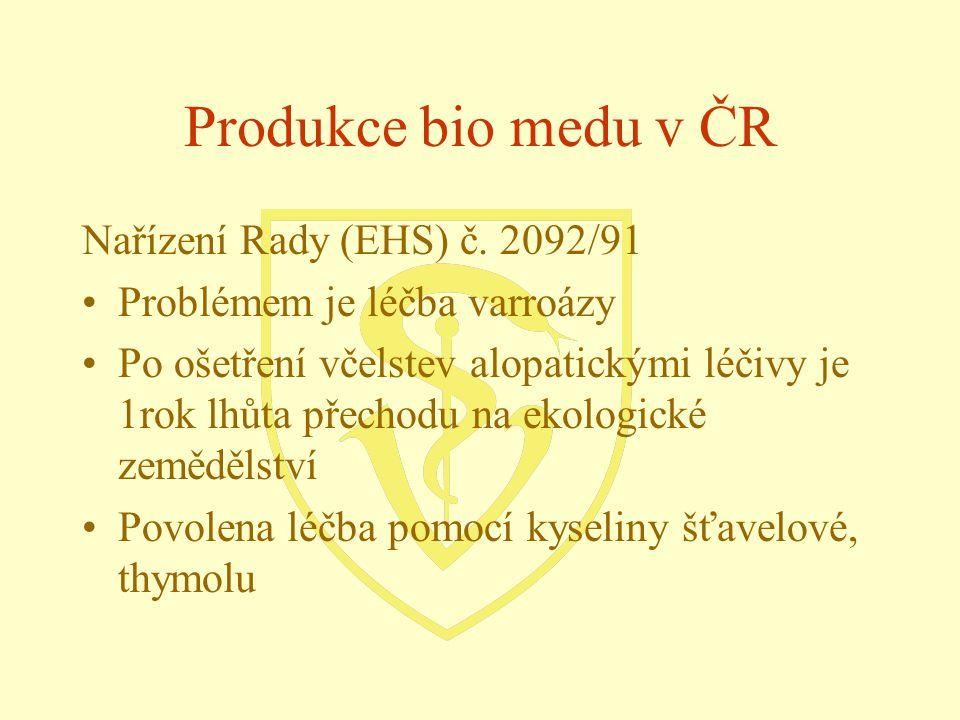 Nařízení Rady (EHS) č. 2092/91 Problémem je léčba varroázy Po ošetření včelstev alopatickými léčivy je 1rok lhůta přechodu na ekologické zemědělství P