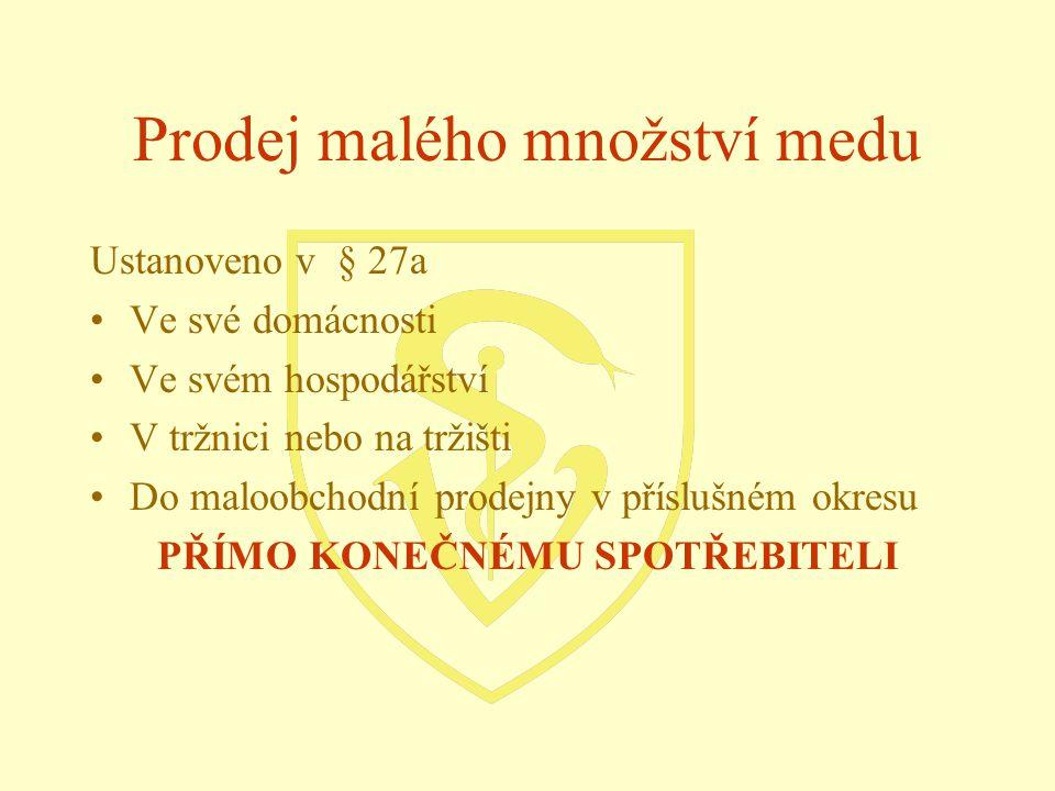 Prodej malého množství medu Ustanoveno v § 27a Ve své domácnosti Ve svém hospodářství V tržnici nebo na tržišti Do maloobchodní prodejny v příslušném