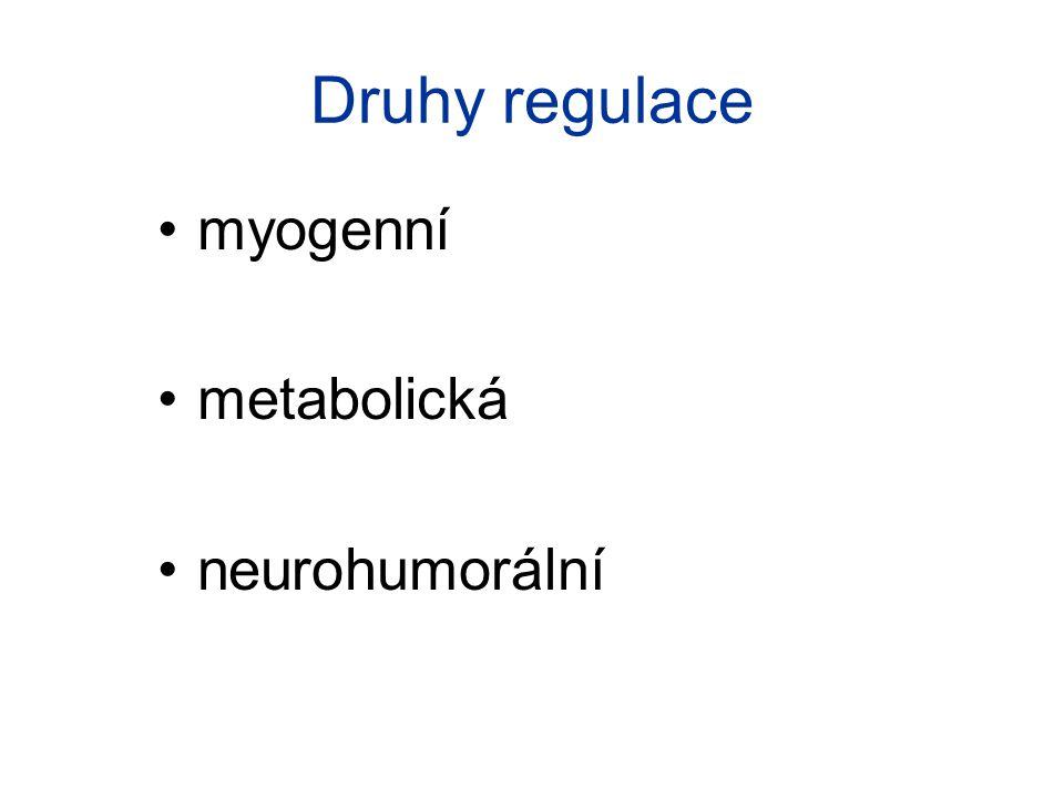 Myogenní regulace stoupající tlak v cévě způsobí její roztažení → hladká svalovina odpovídá na toto napětí kontrakcí natažením se aktivují Ca 2+ kanály → kontrakce ne v kůži a plicích