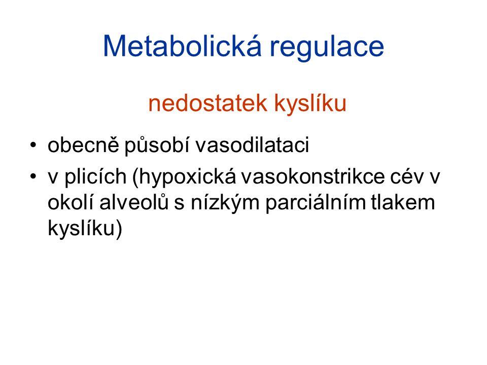 Metabolická regulace zvýšení koncentrace metabolických produktů jako je CO2, H+, ADP, AMP, adenosin, a K+ → vasodilatace je zajištěn odtok a také přísun živin a O2 krevní průtok v mozku a myokardu je téměř celý závislý na této regulaci jiné látky