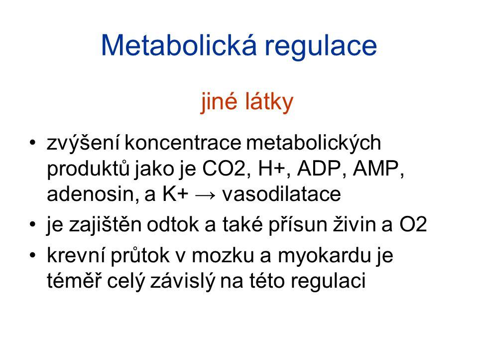 Metabolická regulace zvýšení koncentrace metabolických produktů jako je CO2, H+, ADP, AMP, adenosin, a K+ → vasodilatace je zajištěn odtok a také přís