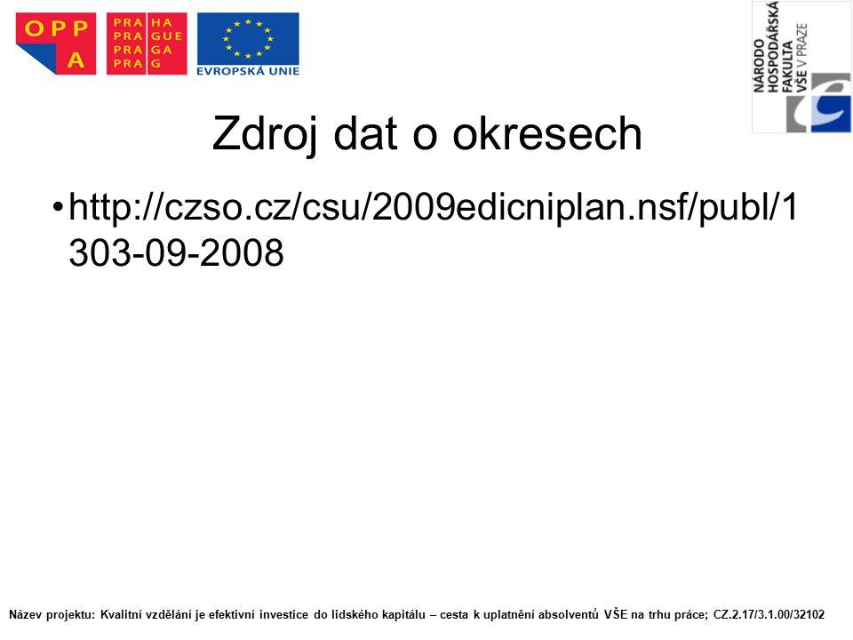 Zdroj dat o okresech http://czso.cz/csu/2009edicniplan.nsf/publ/1 303-09-2008 Název projektu: Kvalitní vzdělání je efektivní investice do lidského kapitálu – cesta k uplatnění absolventů VŠE na trhu práce; CZ.2.17/3.1.00/32102