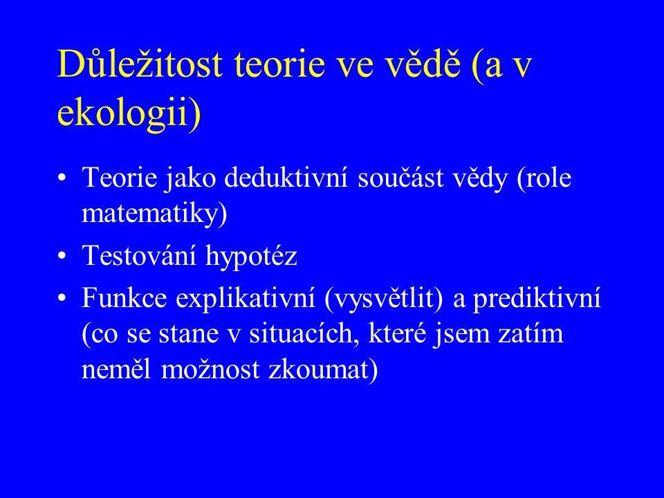 Důležitost teorie ve vědě (a v ekologii) Teorie jako deduktivní součást vědy (role matematiky) Testování hypotéz Funkce explikativní (vysvětlit) a pre