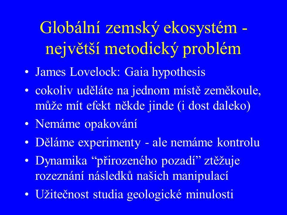 Globální zemský ekosystém - největší metodický problém James Lovelock: Gaia hypothesis cokoliv uděláte na jednom místě zeměkoule, může mít efekt někde