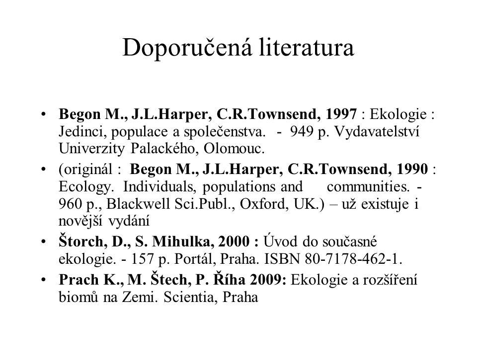 Doporučená literatura Begon M., J.L.Harper, C.R.Townsend, 1997 : Ekologie : Jedinci, populace a společenstva. - 949 p. Vydavatelství Univerzity Palack