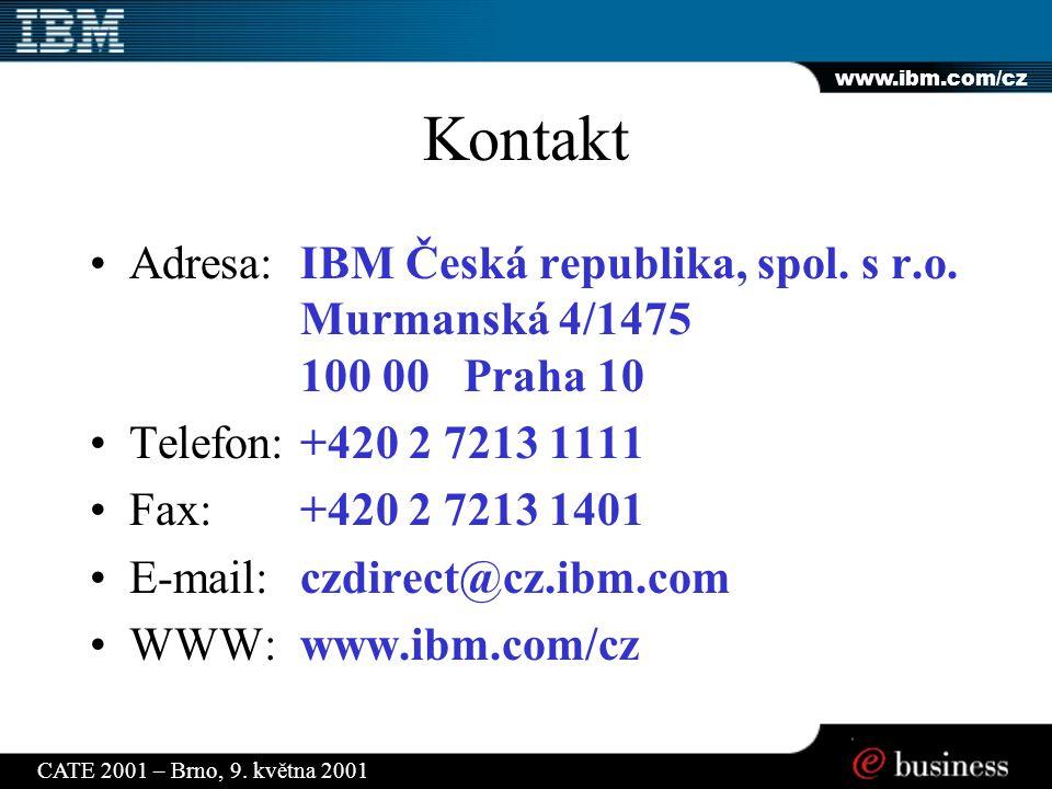 www.ibm.com/cz CATE 2001 – Brno, 9. května 2001 Kontakt Adresa:IBM Česká republika, spol.