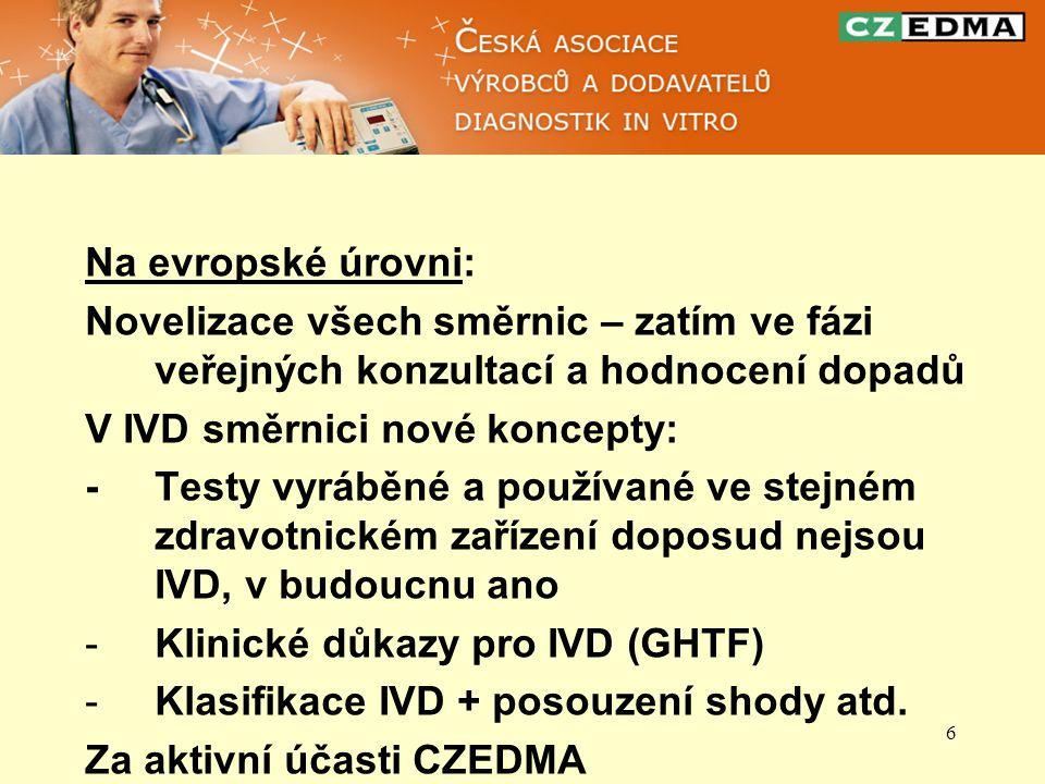 6 Na evropské úrovni: Novelizace všech směrnic – zatím ve fázi veřejných konzultací a hodnocení dopadů V IVD směrnici nové koncepty: - Testy vyráběné a používané ve stejném zdravotnickém zařízení doposud nejsou IVD, v budoucnu ano -Klinické důkazy pro IVD (GHTF) -Klasifikace IVD + posouzení shody atd.