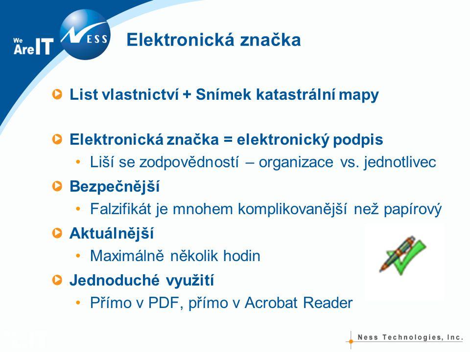 Elektronická značka List vlastnictví + Snímek katastrální mapy Elektronická značka = elektronický podpis Liší se zodpovědností – organizace vs.