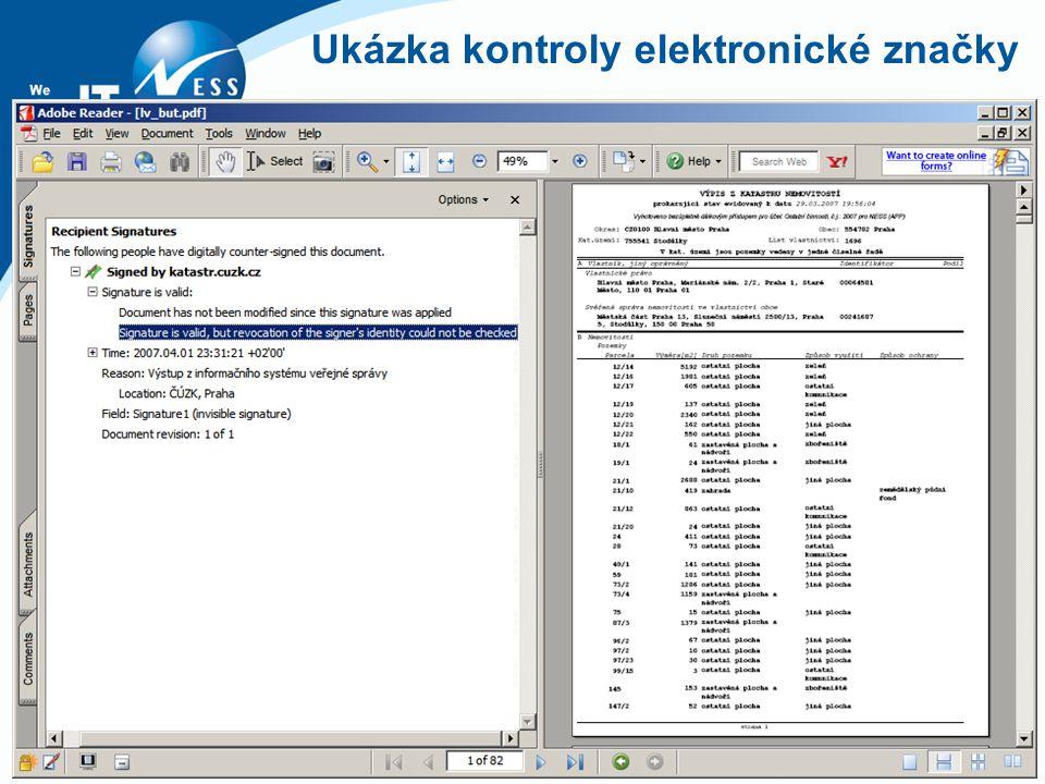 Ukázka kontroly elektronické značky