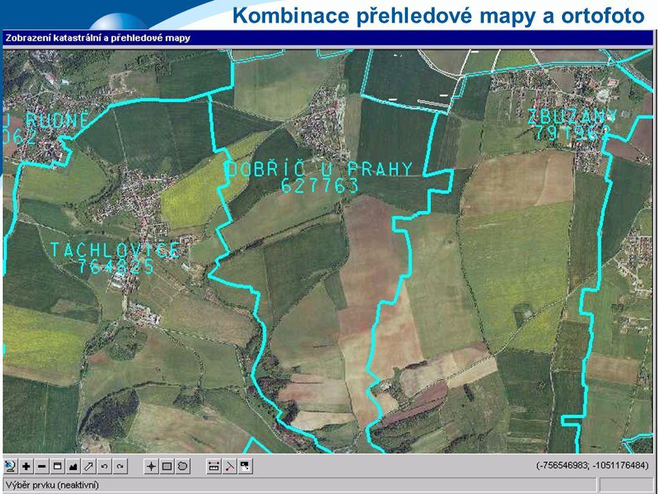 Kombinace přehledové mapy a ortofoto