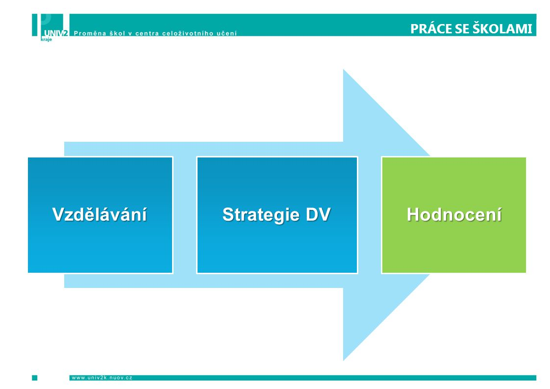 PRÁCE SE ŠKOLAMI Vzdělávání Strategie DV Hodnocení
