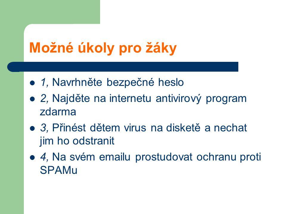Možné úkoly pro žáky 1, Navrhněte bezpečné heslo 2, Najděte na internetu antivirový program zdarma 3, Přinést dětem virus na disketě a nechat jim ho odstranit 4, Na svém emailu prostudovat ochranu proti SPAMu