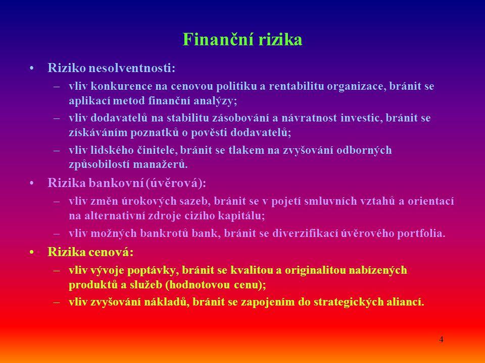 4 Finanční rizika Riziko nesolventnosti: –vliv konkurence na cenovou politiku a rentabilitu organizace, bránit se aplikací metod finanční analýzy; –vl