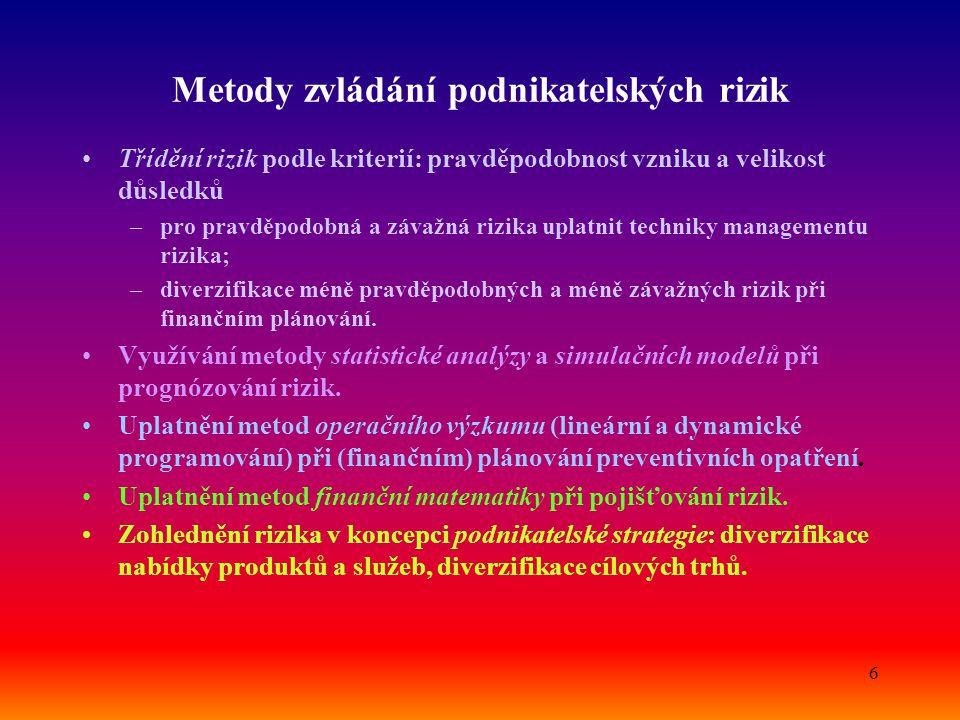 7 NÁSLEDNÁ LIKVIDACE PŘÍPRAVA NÁPRAVNÝCH OPATŘENÍ Závažnost dopadů nízkávysoká Pravděpodobnost vzniku malá velká ELIMINOVAT MOŽNOST VZNIKU PREVENCE Klasifikace rizik