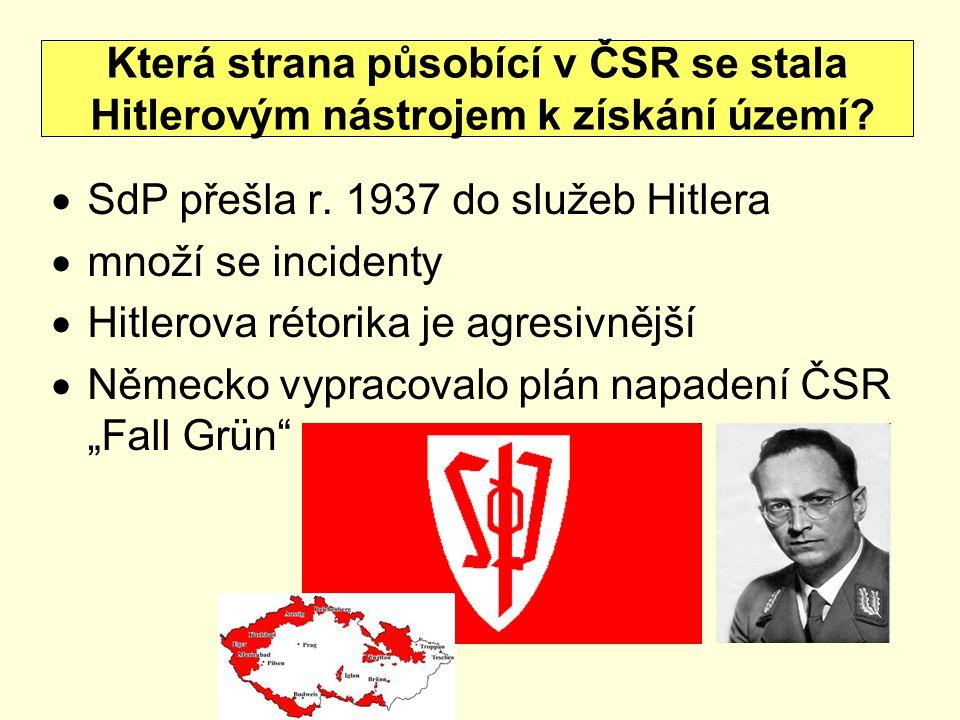""" SdP přešla r. 1937 do služeb Hitlera  množí se incidenty  Hitlerova rétorika je agresivnější  Německo vypracovalo plán napadení ČSR """"Fall Grün"""" K"""