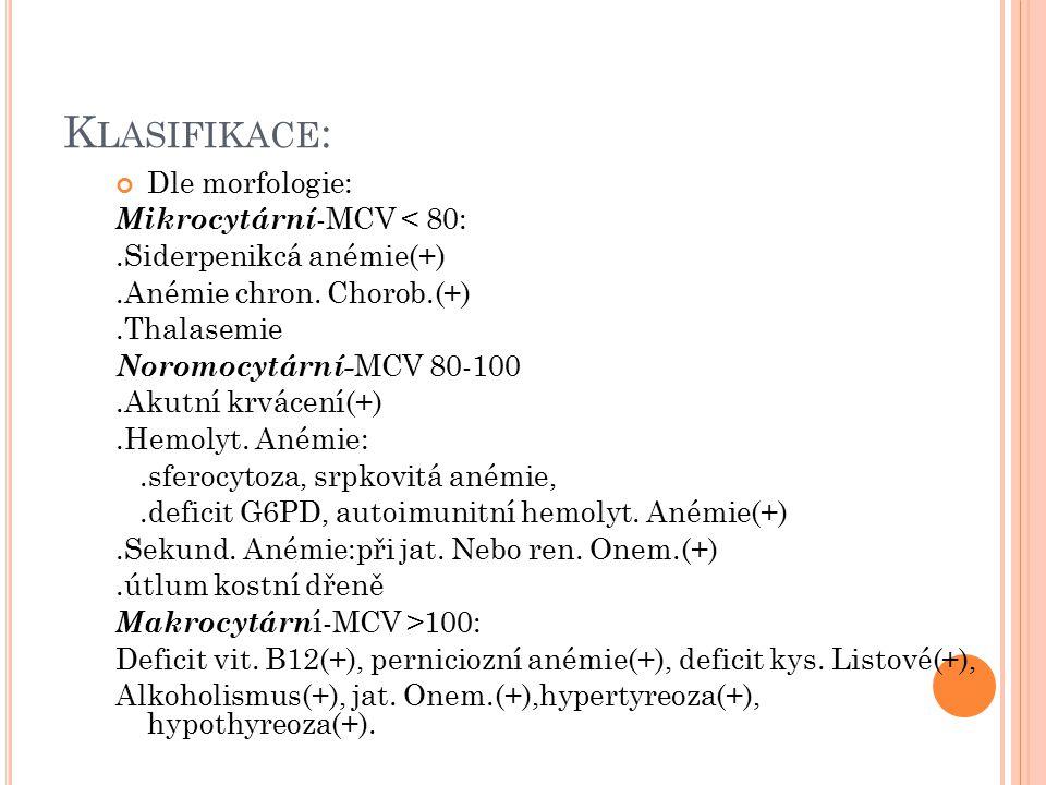 K LASIFIKACE : Dle morfologie: Mikrocytární -MCV < 80:.Siderpenikcá anémie(+).Anémie chron. Chorob.(+).Thalasemie Noromocytární- MCV 80-100.Akutní krv