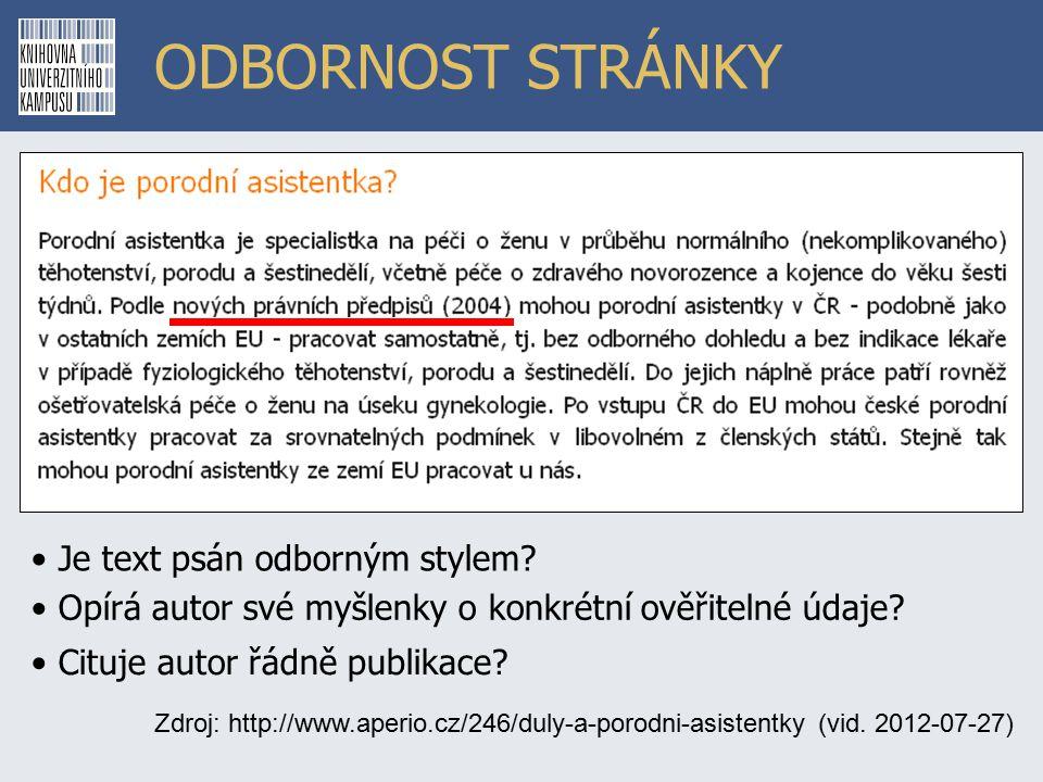 ODBORNOST STRÁNKY Zdroj: http://www.aperio.cz/246/duly-a-porodni-asistentky (vid.