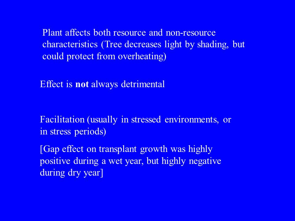 Plant affects both resource and non-resource characteristics (Tree decreases light by shading, but could protect from overheating) Effect is not alway