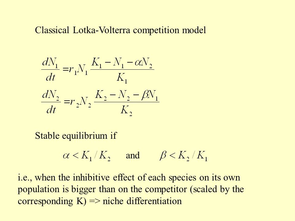Classical Lotka-Volterra competition model and Stable equilibrium if i.e., when the inhibitive effect of each species on its own population is bigger