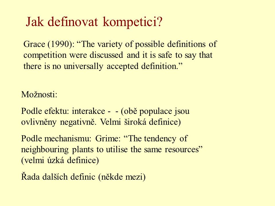 """Grace (1990): """"The variety of possible definitions of competition were discussed and it is safe to say that there is no universally accepted definitio"""