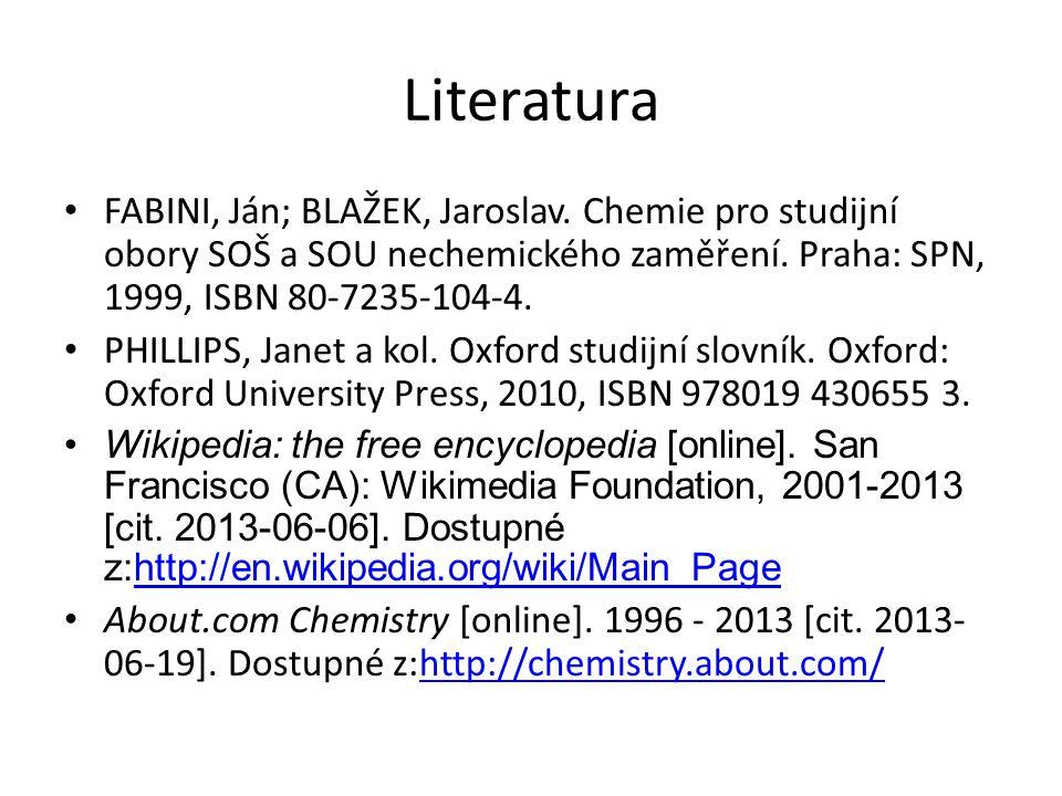 Literatura FABINI, Ján; BLAŽEK, Jaroslav.