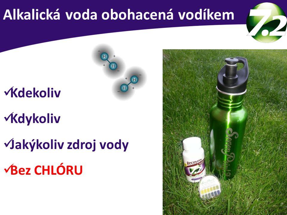 Alkalická voda obohacená vodíkem Kdekoliv Kdykoliv Jakýkoliv zdroj vody Bez CHLÓRU