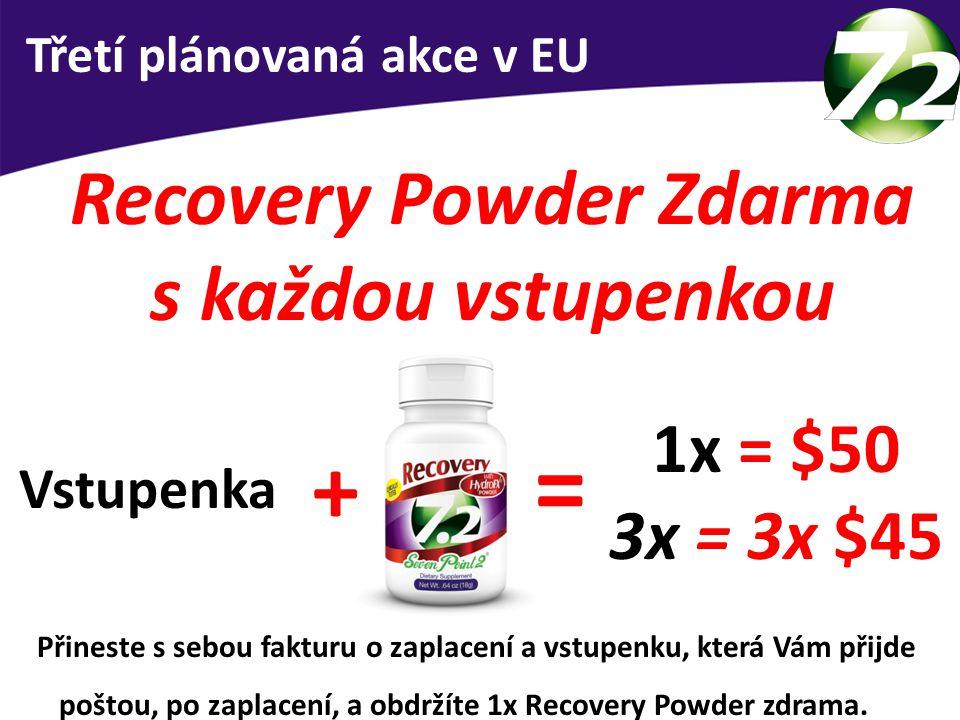 Recovery Powder Zdarma s každou vstupenkou Třetí plánovaná akce v EU 1x = $50 3x = 3x $45 = + Vstupenka Přineste s sebou fakturu o zaplacení a vstupen