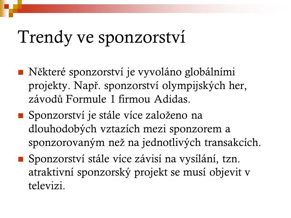 Trendy ve sponzorství N ě které sponzorství je vyvoláno globálními projekty. Nap ř. sponzorství olympijských her, závod ů Formule 1 firmou Adidas. Spo