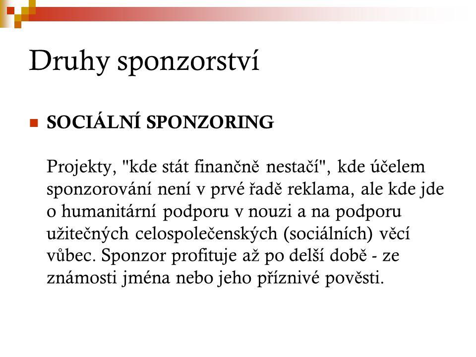 Druhy sponzorství SOCIÁLNÍ SPONZORING Projekty,