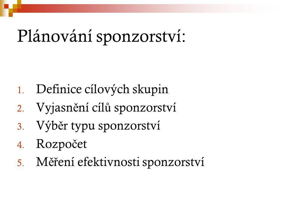 Plánování sponzorství: 1. Definice cílových skupin 2. Vyjasn ě ní cíl ů sponzorství 3. Výb ě r typu sponzorství 4. Rozpo č et 5. M ěř ení efektivnosti
