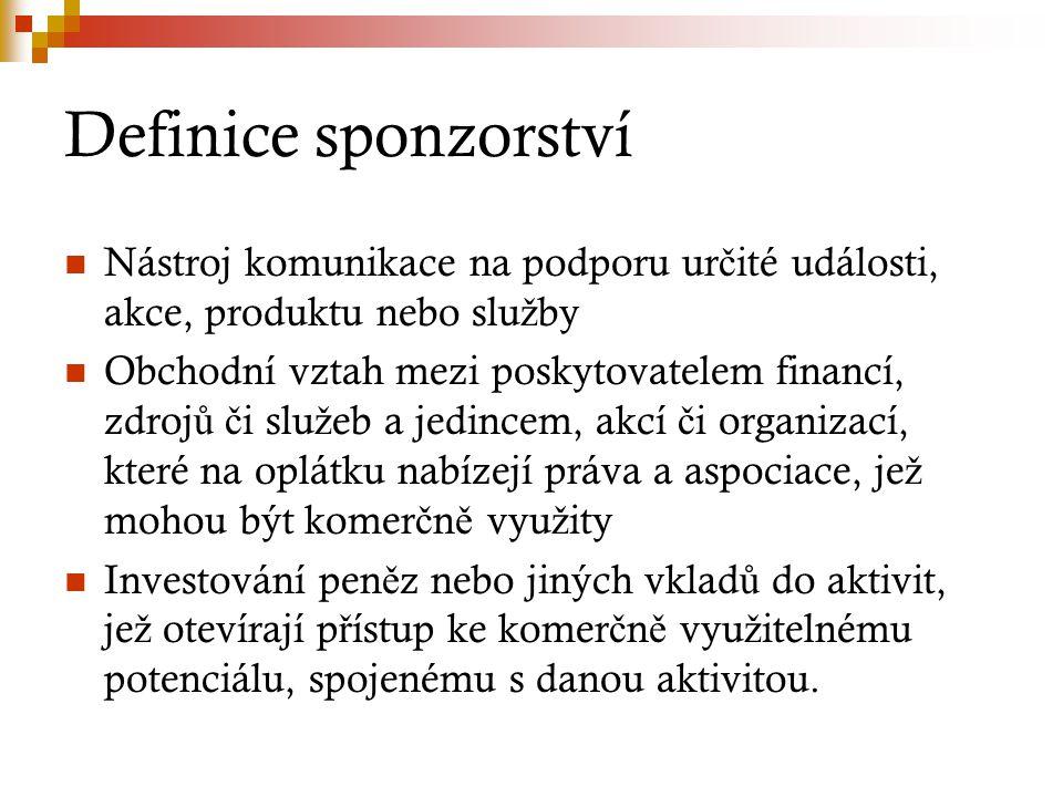 Definice sponzorství Spojení zájm ů a zna č ky firmy s ur č itými významnými událostmi nebo aktivitami.