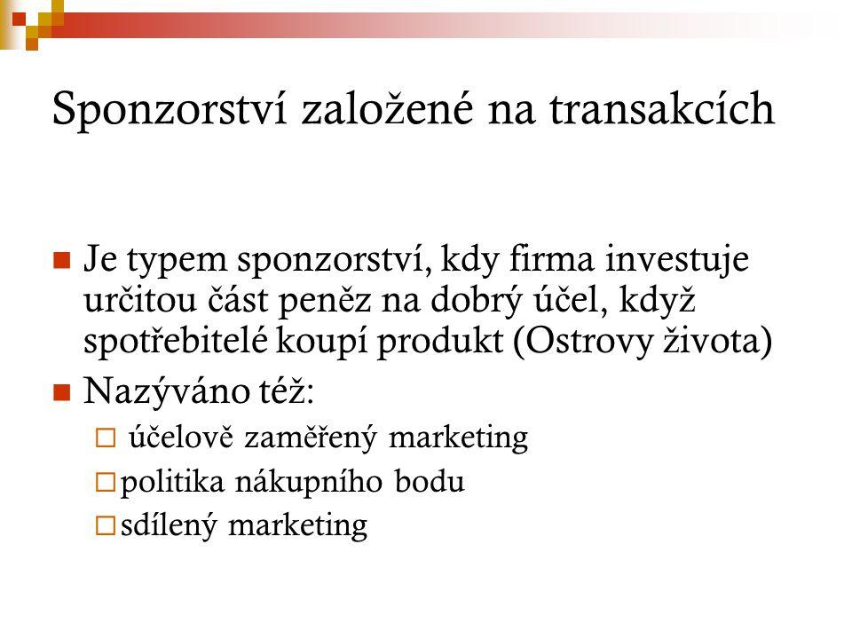 Sponzorství zalo ž ené na transakcích Je typem sponzorství, kdy firma investuje ur č itou č ást pen ě z na dobrý ú č el, kdy ž spot ř ebitelé koupí pr