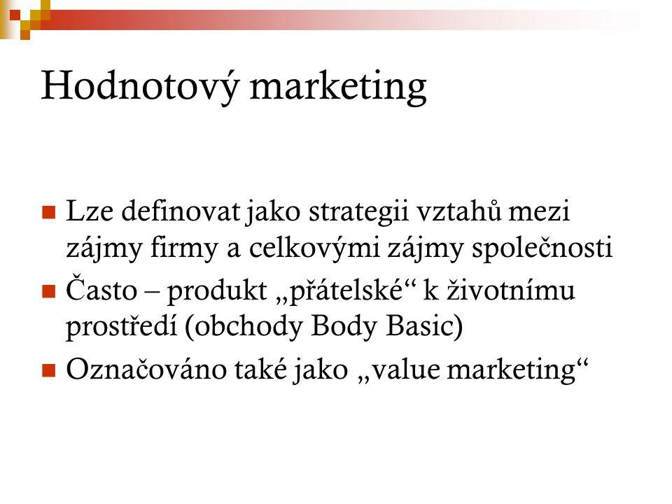"""Hodnotový marketing Lze definovat jako strategii vztah ů mezi zájmy firmy a celkovými zájmy spole č nosti Č asto – produkt """"p ř átelské k ž ivotnímu prost ř edí (obchody Body Basic) Ozna č ováno také jako """"value marketing"""