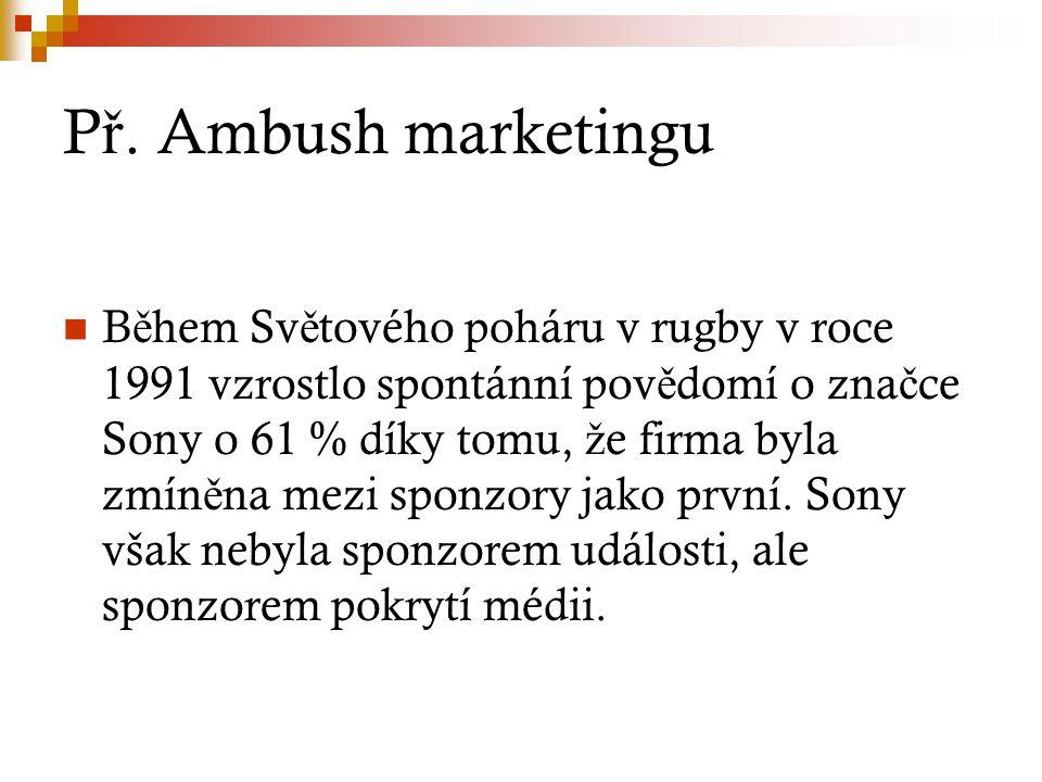 P ř. Ambush marketingu B ě hem Sv ě tového poháru v rugby v roce 1991 vzrostlo spontánní pov ě domí o zna č ce Sony o 61 % díky tomu, ž e firma byla z