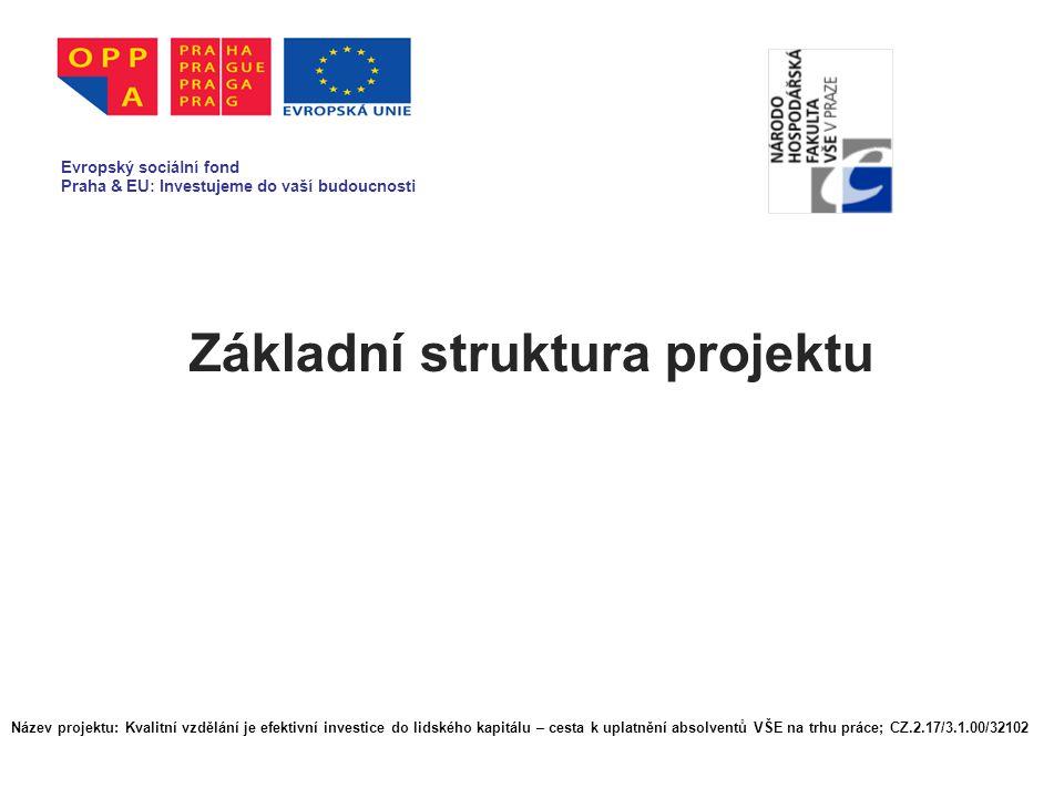 Základní struktura projektu Evropský sociální fond Praha & EU: Investujeme do vaší budoucnosti Název projektu: Kvalitní vzdělání je efektivní investice do lidského kapitálu – cesta k uplatnění absolventů VŠE na trhu práce; CZ.2.17/3.1.00/32102
