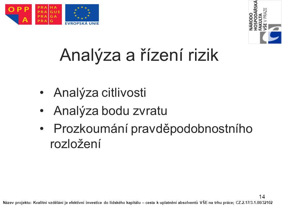14 Analýza a řízení rizik Analýza citlivosti Analýza bodu zvratu Prozkoumání pravděpodobnostního rozložení Název projektu: Kvalitní vzdělání je efekti