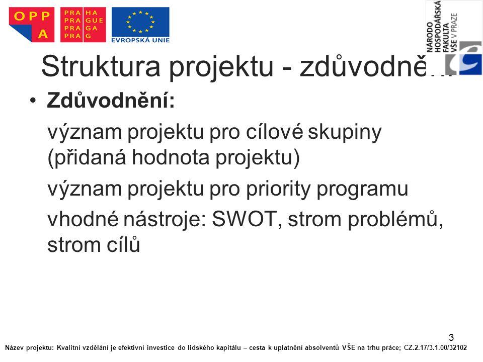 3 Struktura projektu - zdůvodnění Zdůvodnění: význam projektu pro cílové skupiny (přidaná hodnota projektu) význam projektu pro priority programu vhodné nástroje: SWOT, strom problémů, strom cílů Název projektu: Kvalitní vzdělání je efektivní investice do lidského kapitálu – cesta k uplatnění absolventů VŠE na trhu práce; CZ.2.17/3.1.00/32102