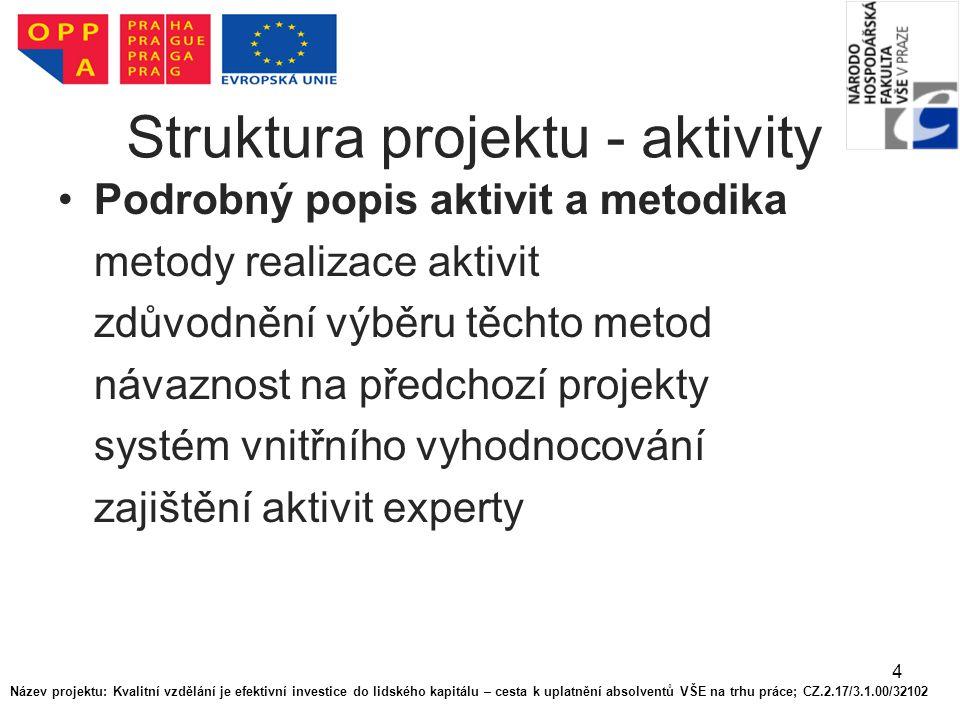 4 Struktura projektu - aktivity Podrobný popis aktivit a metodika metody realizace aktivit zdůvodnění výběru těchto metod návaznost na předchozí projekty systém vnitřního vyhodnocování zajištění aktivit experty Název projektu: Kvalitní vzdělání je efektivní investice do lidského kapitálu – cesta k uplatnění absolventů VŠE na trhu práce; CZ.2.17/3.1.00/32102