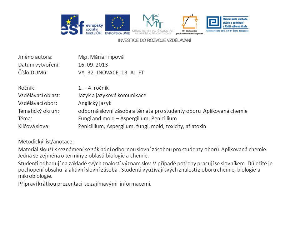 Jméno autora: Mgr. Mária Filipová Datum vytvoření:16. 09. 2013 Číslo DUMu: VY_32_INOVACE_13_AJ_FT Ročník: 1. – 4. ročník Vzdělávací oblast:Jazyk a jaz