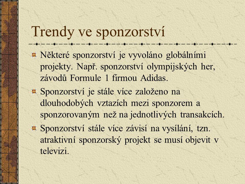 Trendy ve sponzorství Některé sponzorství je vyvoláno globálními projekty. Např. sponzorství olympijských her, závodů Formule 1 firmou Adidas. Sponzor