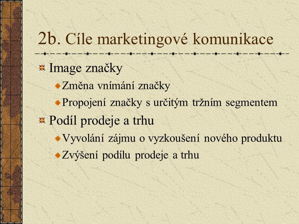 2b. Cíle marketingové komunikace Image značky Změna vnímání značky Propojení značky s určitým tržním segmentem Podíl prodeje a trhu Vyvolání zájmu o v