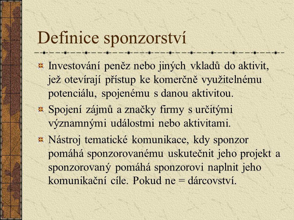 Definice sponzorství Investování peněz nebo jiných vkladů do aktivit, jež otevírají přístup ke komerčně využitelnému potenciálu, spojenému s danou akt