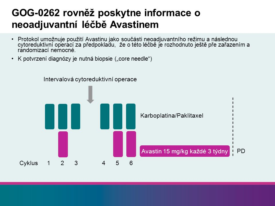 GOG-0262 rovněž poskytne informace o neoadjuvantní léčbě Avastinem Protokol umožnuje použití Avastinu jako součásti neoadjuvantního režimu a následnou cytoreduktivní operací za předpokladu, že o této léčbě je rozhodnuto ještě pře zařazením a randomizací nemocné.