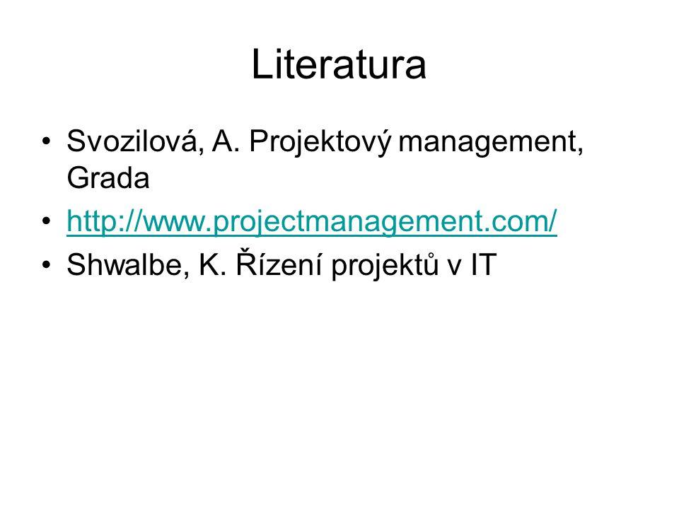 Literatura Svozilová, A. Projektový management, Grada http://www.projectmanagement.com/ Shwalbe, K.