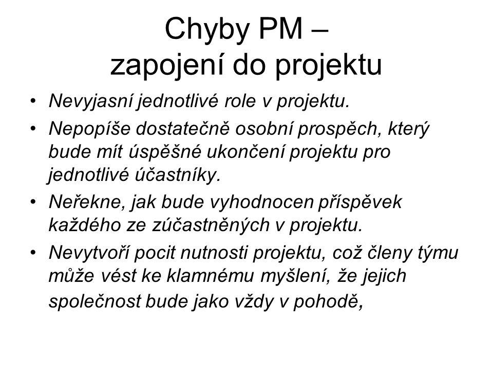 Chyby PM – zapojení do projektu Nevyjasní jednotlivé role v projektu.